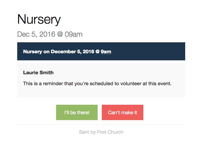 Volunteer reminder email example