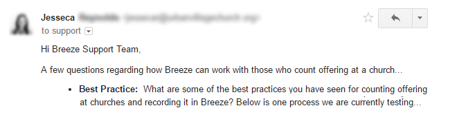 Breeze support team response to customer question